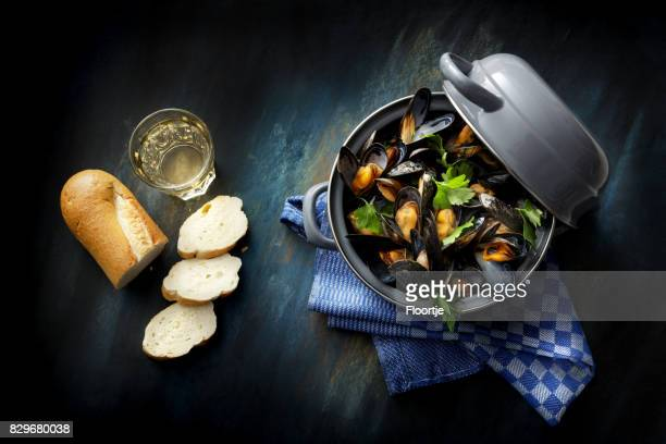 seafood: mussels mariniere still life - mussel stock pictures, royalty-free photos & images