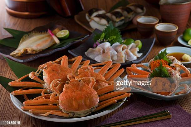 seafood of hokuriku region - chionoecetes opilio stock photos and pictures