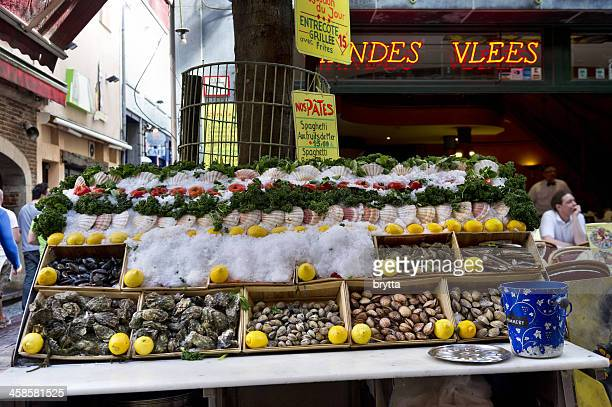 Seafood on display at restaurant , Rue des Bouchers ,Brussels,Belgium