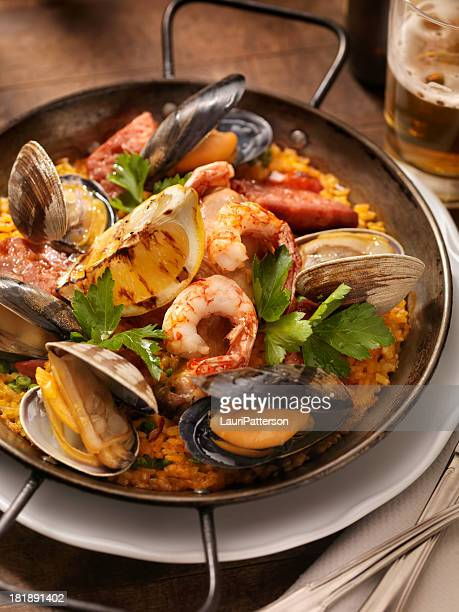 seafood paella - spanish culture stock pictures, royalty-free photos & images