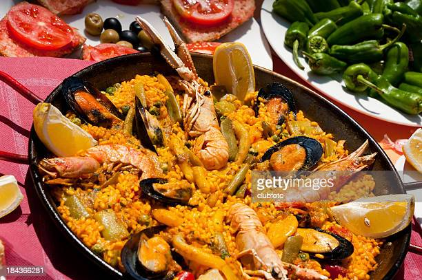 seafood paella - majorca stock pictures, royalty-free photos & images