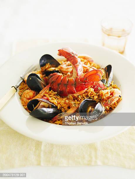 Seafood paella with lobster, prawns and mussels, elevated view