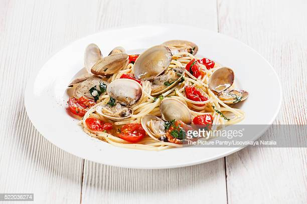 Seafood pasta with clams in tomato sauce Spaghetti alle Vongole
