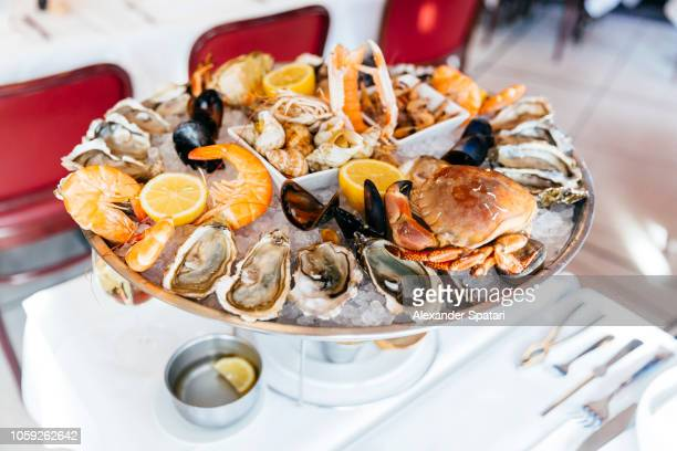 seafood plate with oysters, prawns, crab, mussels served on crushed ice in plate in a luxury restaurant - krabben meeresfrüchte stock-fotos und bilder