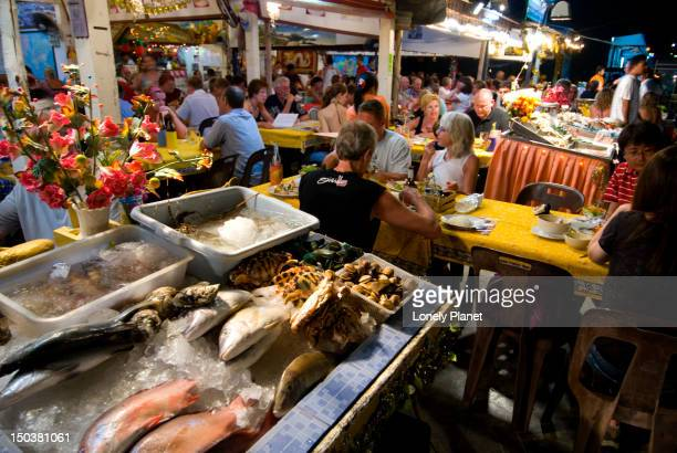 Seafood restaurants at Karon Beach.
