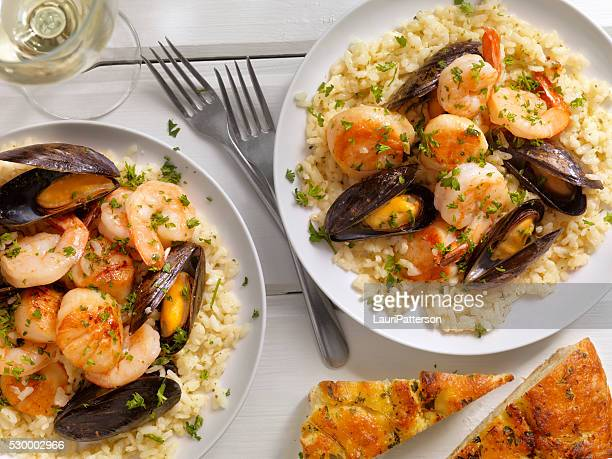 Seafood Risotto with Fresh Parsley and Focaccia Bread
