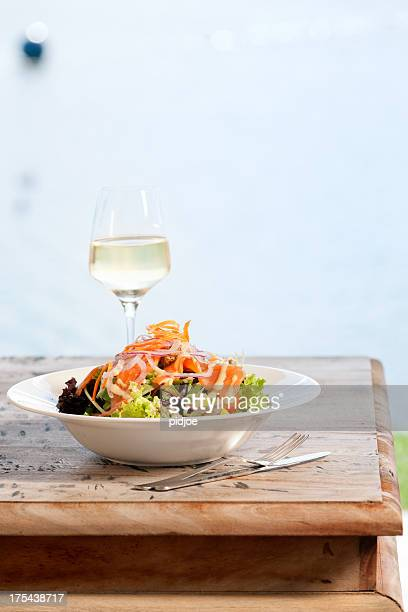 seafood salad with smoked salmon on lollo bionda lettuce - seafood stock pictures, royalty-free photos & images