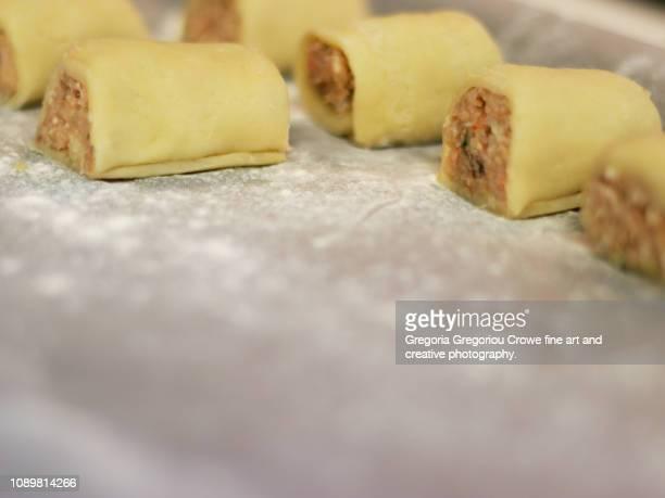 seafood sausage rolls - gregoria gregoriou crowe fine art and creative photography. bildbanksfoton och bilder