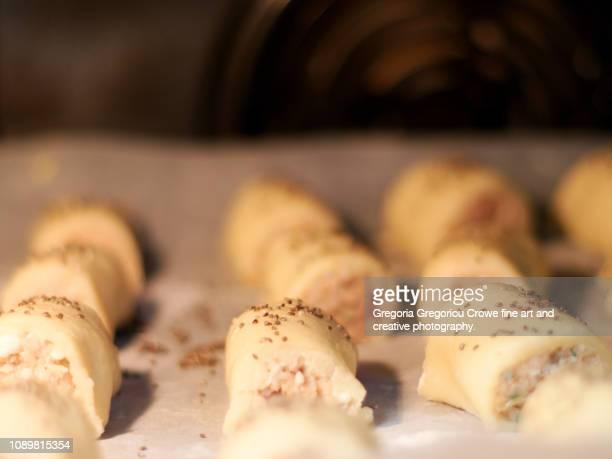 seafood sausage rolls - gregoria gregoriou crowe fine art and creative photography. fotografías e imágenes de stock