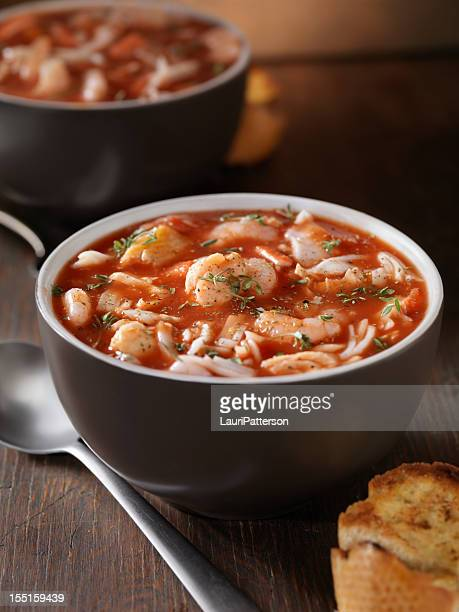 seafood soup - crab seafood stock photos and pictures