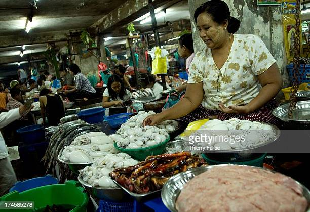 A seafood stall in a Yangon market
