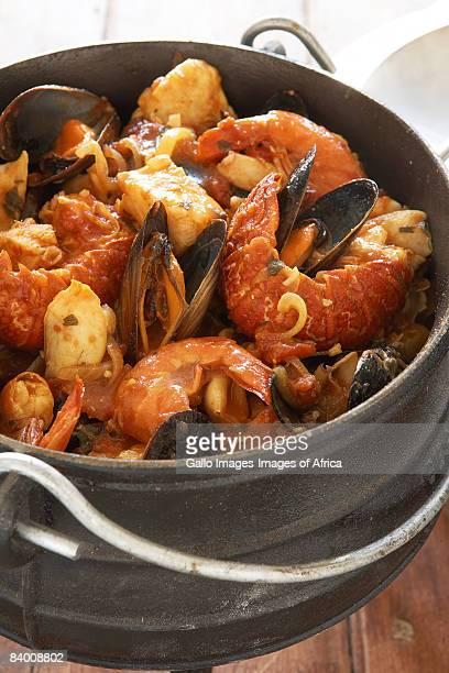 Seafood stew pot