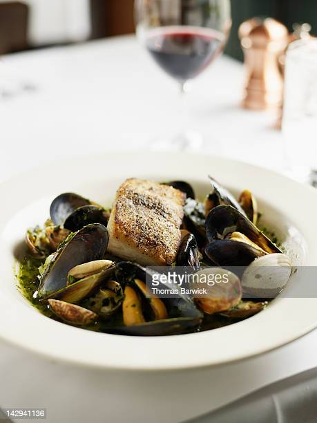 Seafood stew with halibut