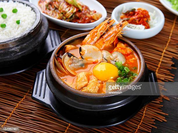 seafood tofu stew - korean food stock pictures, royalty-free photos & images