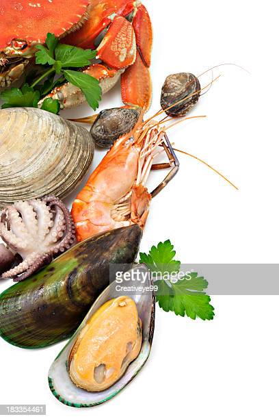 seafood variety - crab seafood stock photos and pictures