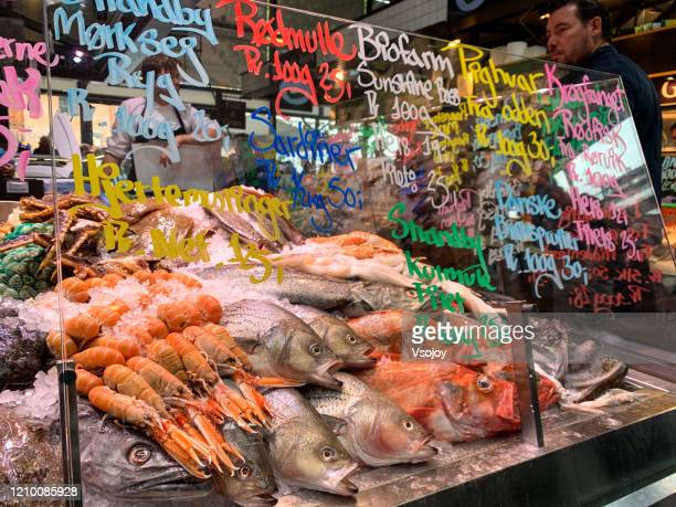 seafoods at torvehallerne, copenhagen, denmark - vsojoy stock pictures, royalty-free photos & images