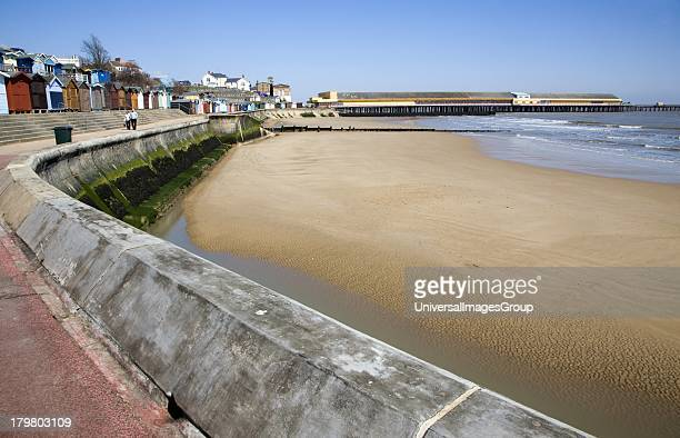 Seafront beach and pier at Walton on the Naze Essex England
