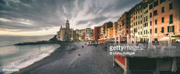 seafront in camogli. liguria, italy. - genova foto e immagini stock
