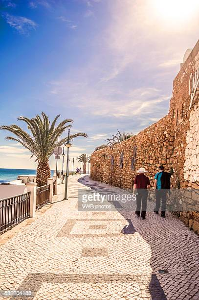 Seafront Promenade with Palm Trees, Praia de Luz, Portugal
