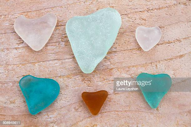 Seaglass hearts on Driftwood