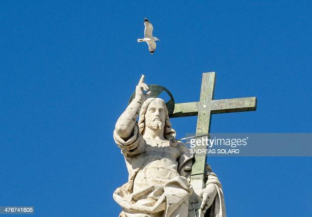 A seagull flies over a statue of Jesus on the top of St Peter''s Basilica as Pope Pope Francis delivers a speech during his weekly general audience...