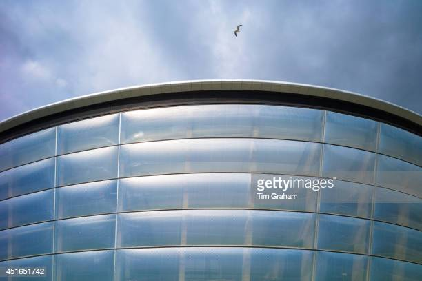 Seagull flies over the Hydro Arena at the Scottish Exhibition and Conference Centre SECC venue for the Commonwealth Games in Glasgow Scotland
