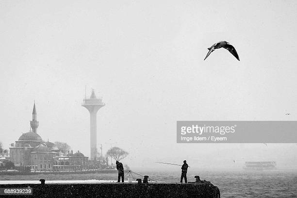 Seagull Flying Over Men Fishing On Pier By Mosque During Foggy Weather At Bosphorus