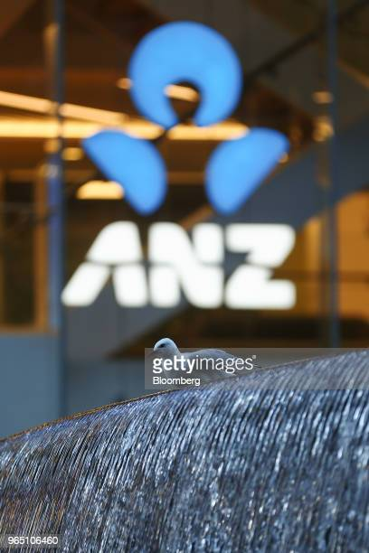 A seagull sits perched on a fountain outside an Australia New Zealand Banking Group Ltd branch in Sydney Australia on Friday June 1 2018 Australia's...