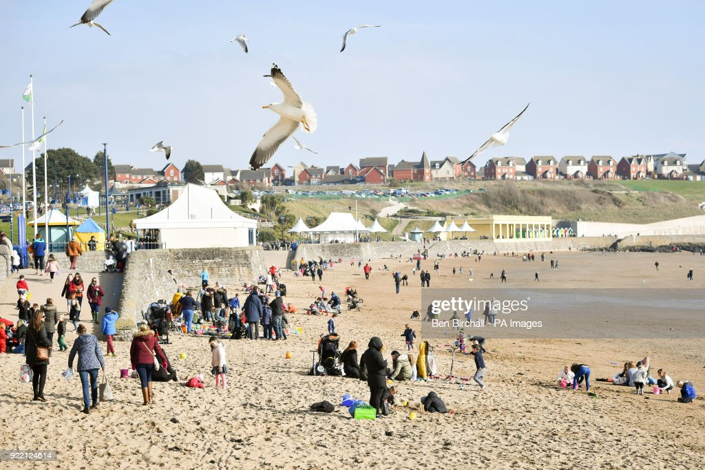 Seagulls circle above people enjoying the beach during sunny weather at Barry Island in South Wales as temperatures reach single figures.