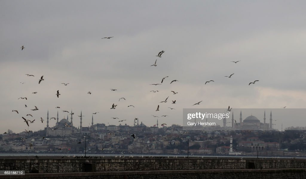 Seagulls fly above the Blue Mosque (L) the Hagia Sofia (R) and Bosphorus March 13, 2017 in Istanbul, Turkey.