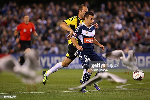 Seagulls fly as Kosta Barbarouses of the Victory and Andrew Durante of the Phoenix compete for the ball during the round four ALeague match between...