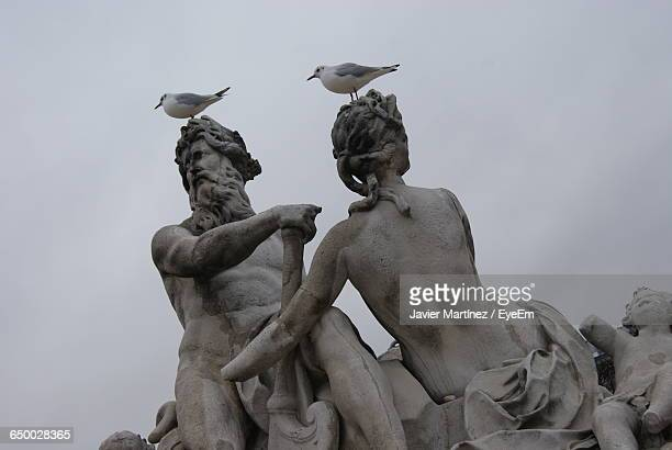 Seagulls Perching On Broken Statues Against Clear Sky