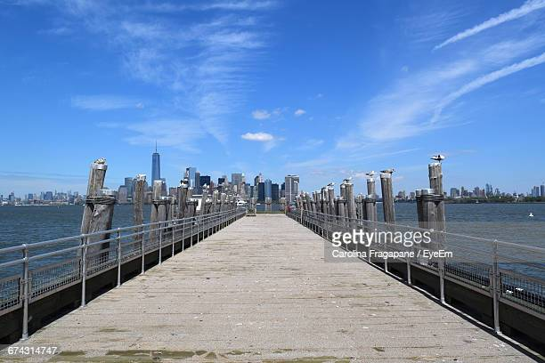 seagulls perching on wooden columns by empty pier at hudson river against sky - carolina fragapane stock pictures, royalty-free photos & images