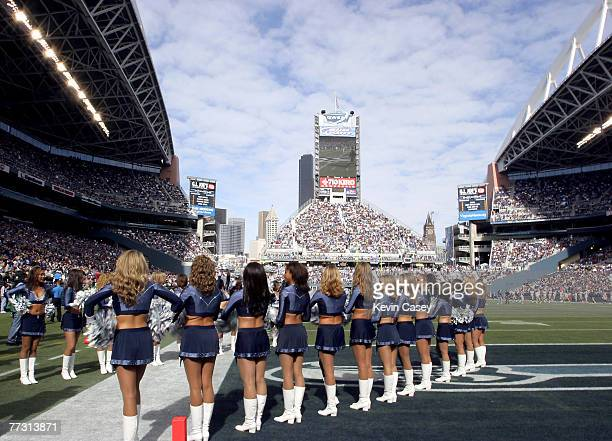 Seahawks cheerleaders Sea Gals prepare for the Game to start against the StLouis Rams October 10 2004 at Qwest Field in Seattle