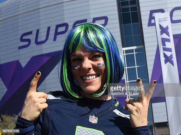 Seahawks fans arrive prior to the New England Patriots and the Seattle Seahawks playing in Super Bowl XLIX February 1 2015 at the at University of...