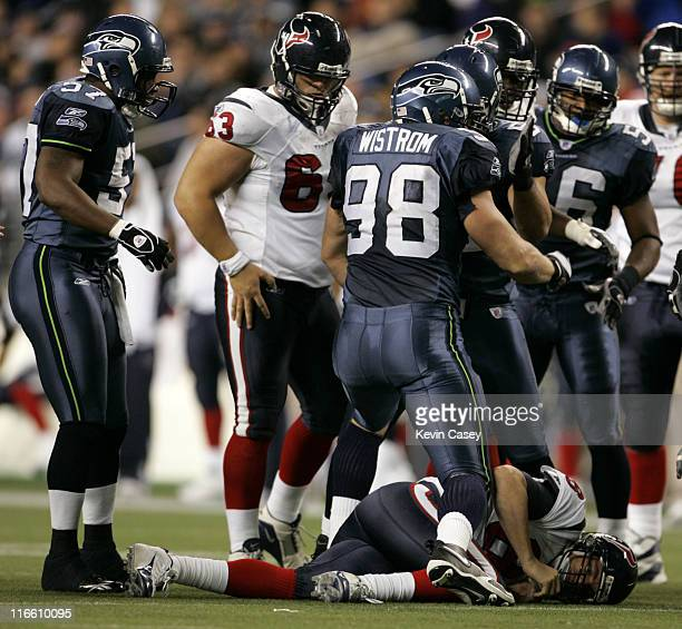 Seahawks Grant Wistrom celebrates after sacking QB David Carr at Qwest Field in Seattle Washington on Sunday October 16 2005