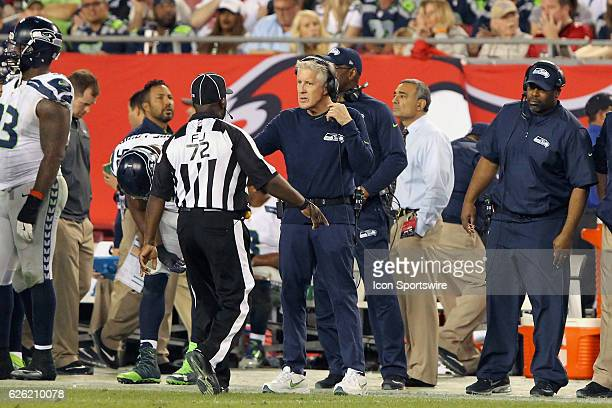 Seahawks Head Coach Pete Carroll questions a call during the NFL Game between the Seattle Seahawks and Tampa Bay Buccaneers on November 27 at Raymond...