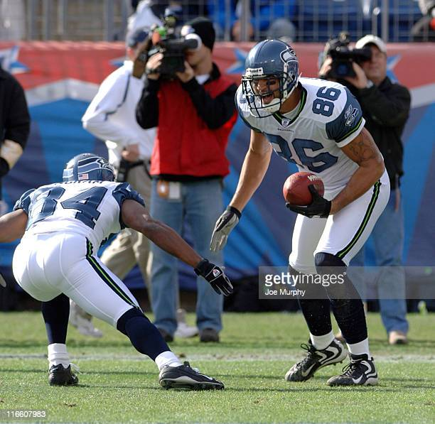 Seahawks Jerramy Stevens celebrates his touchdown with Bobby Engram versus Tennessee at The Coliseum in Nashville Tennessee Dec 18 2005