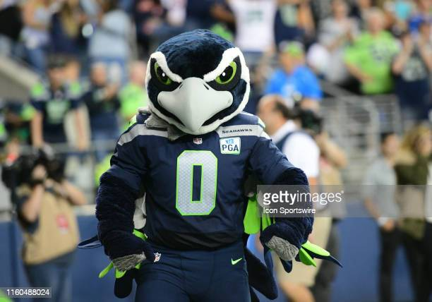 Seahawks mascot Blitz during an NFL preseason game between the Denver Broncos and the Seattle Seahawks on August 08 at Century Link Field in Seattle...
