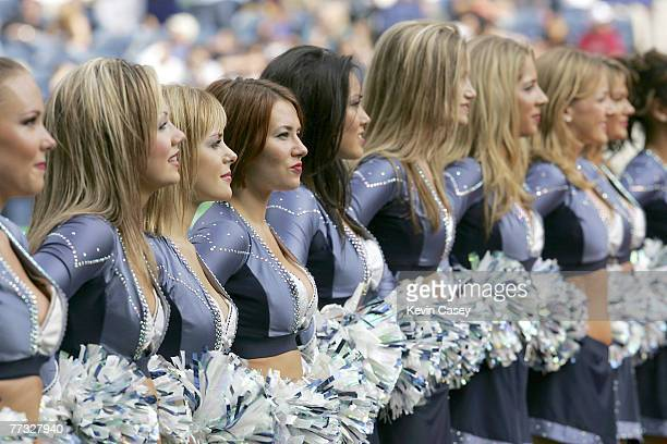 Seahawks Sea Gals during the halftime show are honoring former quarterback Dave Krieg at the game against the San Francisco 49ers at Qwest Field in...
