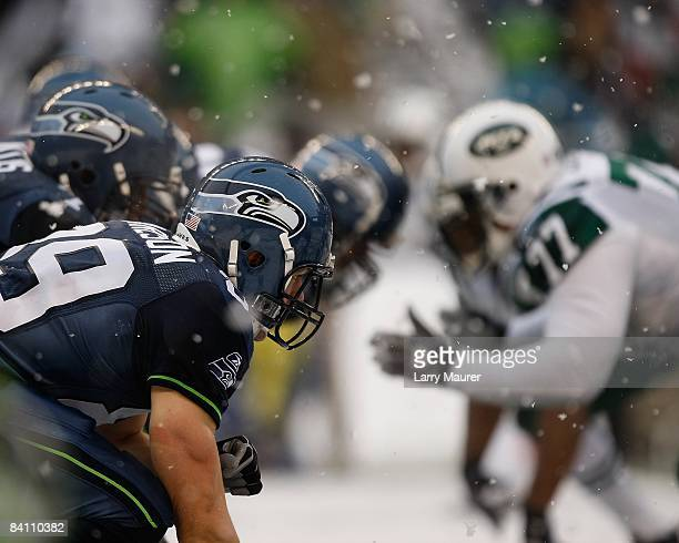 Seahawks tight end John Carlson lines up during the game between the Seattle Seahawks and the New York Jets at Qwest Field in Seattle Washington