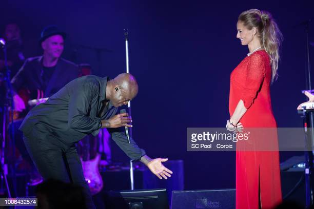 Seal and Adriana Karembeu on stage during the 70th Monaco Red Cross Ball Gala on July 27 2018 in MonteCarlo Monaco
