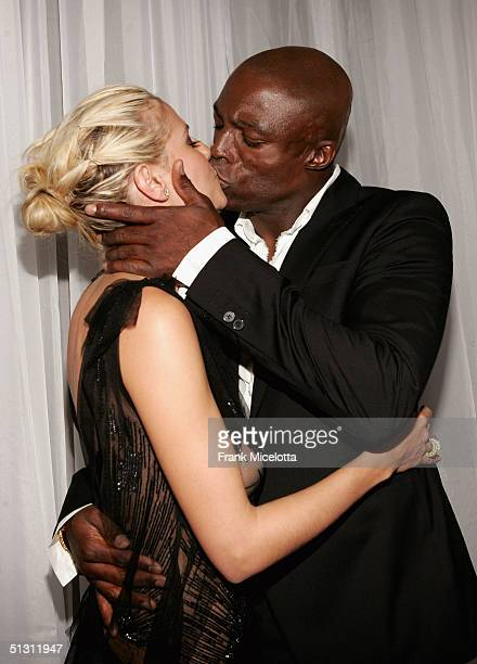 Seal and Heidi Klum kiss as they arrive at the 2004 World Music Awards at the Thomas and Mack Center on September 15 2004 in Las Vegas Nevada The...