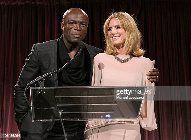 Seal and Heidi Klum speak at the Worldwide Orphans Foundation Sixth Annual Benefit Gala Hosted by Heidi Klum and Seal on November 1 2010 in New York...