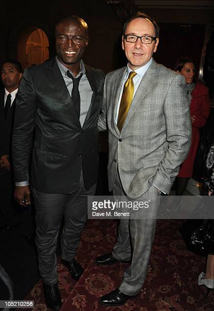 Seal and Kevin Spacey attend the global launch of Vertu Constellation Quest at Lancaster House on October 12, 2010 in London, England.