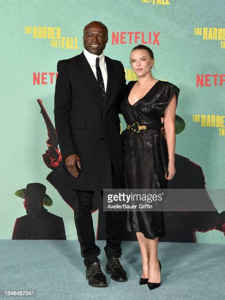 """Seal and Laura Strayer attend the Los Angeles Premiere of """"The Harder They Fall"""" at Shrine Auditorium and Expo Hall on October 13, 2021 in Los..."""