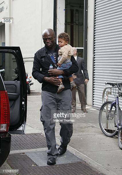 Seal and son Carl during Heidi Klum and Seal Sighting with Family in Chelsea September 5 2006 in New York City New York United States