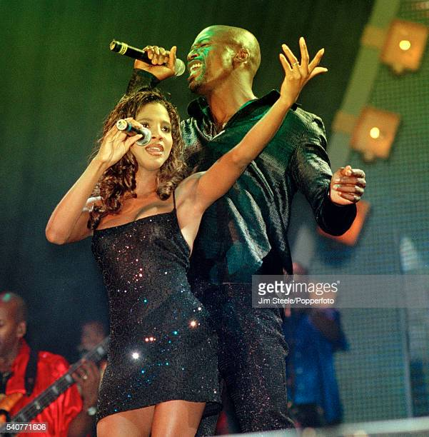 Seal and Toni Braxton performing on stage during Songs Visions The Carlsberg Concert at Wembley Stadium in London on the 16th August 1997