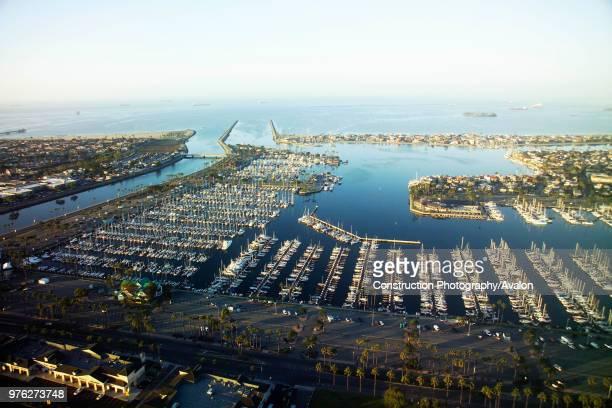 Seal Beach Marina California USA at dawn aerial view USA