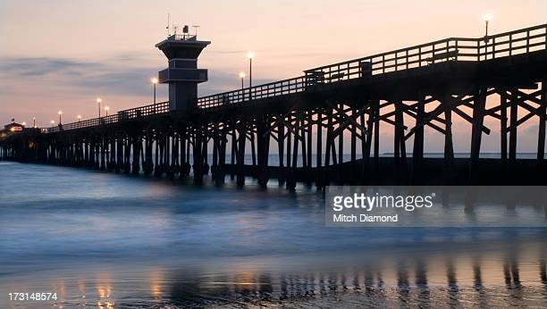 seal beah pier at sunset - seal beach stock pictures, royalty-free photos & images